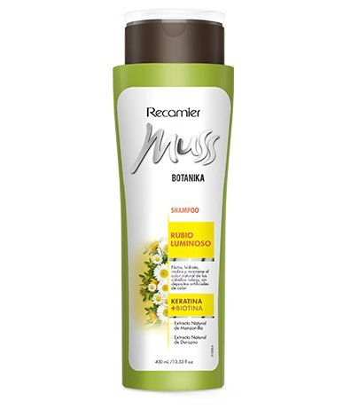 Amazon.com : MUSS BOTANIKA RUBIO LUMINOSO SHAMPOO / Blonde hair shampoo super shiny, chamomile, keratin and Biotin 400gr/ 13.53oz : Beauty