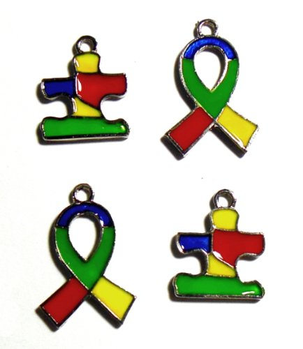 - 12 Autism Awareness Puzzle Piece & Ribbon Colorful Enameled Charms Aspergers Awareness Package of 12 Charms
