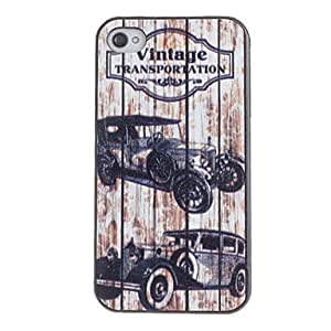 Vintage Vehicle Pattern PC Hard Case with Black Frame for iPhone 4/4S