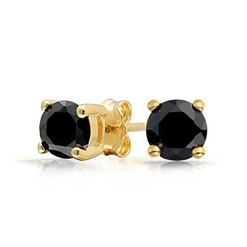 Bling Jewelry Black CZ Round Stud Earrings 925 Sterling Silver