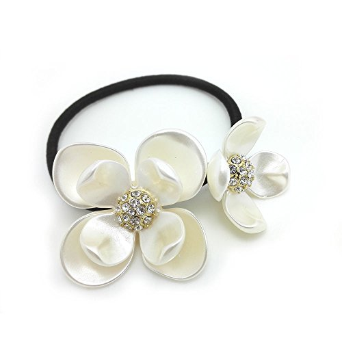 (Meilliwish Crystal Flowers Ponytail Holder Hair Tie (B79))