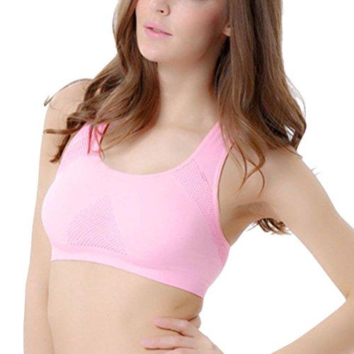 Zhhlinyuan Fashion Women's Seamless Workout Bra Racerback Yoga Sports Bra Pink