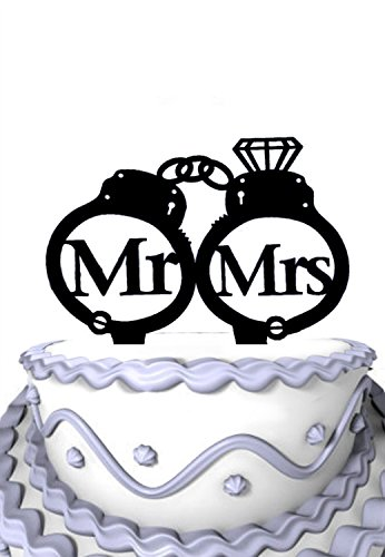 Meijiafei Script Mr and Mrs Inside Personalized Handcuffs with Diamond Wedding Cake Topper