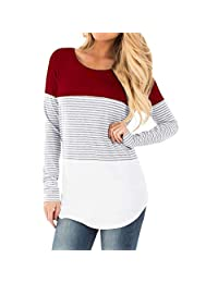 Matoen Women Mom Nursing Baby Maternity Long Sleeved Striped Blouse Clothes