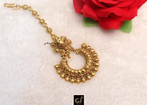 Wedding Gold Moon Headpiece Temple Jewelrytikka Indian Tikka Gold