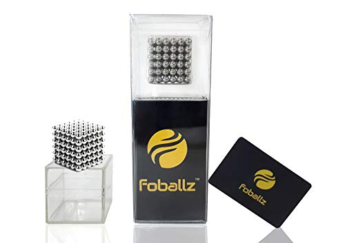 Foballz 5mm Magnetic Silver Balls, 216 Pieces Fidget Block Balls, Adults Stress Relief and Intelligence Development Sculpture Toy for Office and Home.