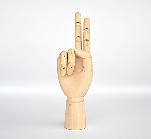 Wood Artist Drawing Manikin Articulated Mannequin with Wooden Flexible Fingers 10'' Right Hand