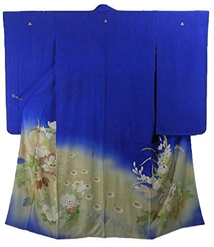 シフト進化コードアンティーク 着物 色留袖 孔雀と花模様 裄63.5cm 身丈146cm 正絹 袷