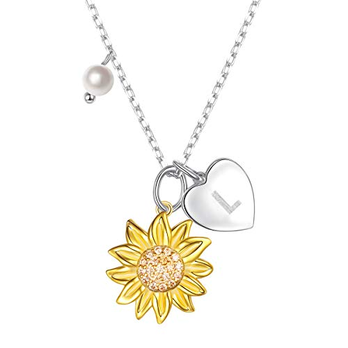 Sterling Silver Gold Tone Sunflower Initial 26 Letter Script Name Alphabet A to Z Necklace Personalized Pendant (L)