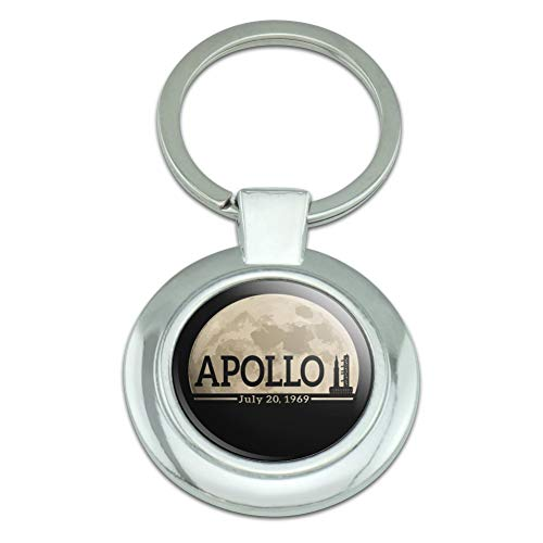 NASA Apollo 11 Moon with Saturn V Rocket and Launchpad Classy Round Chrome Plated Metal - Anniversary 50th Keychain