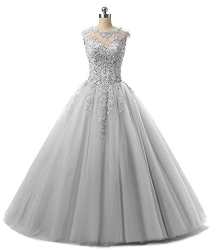 HEIMO Lace Appliques Ball Gown Evening Prom Dress Beading Sequined Quinceanera Dresses Long 2018 H152 18W Silver