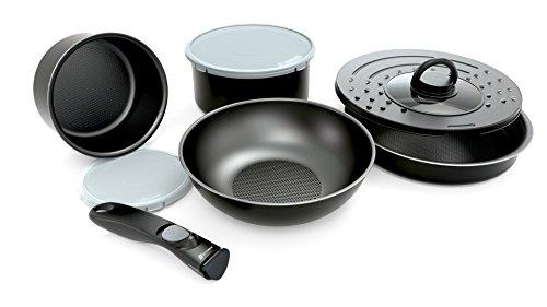 Set de poêles et casseroles avec poignée amovible – Set 8 Pièces Noir – Tous feux dont induction