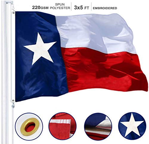 G128 - Texas State Flag 3x5ft Embroidered Stars Sewn Stripes Heavy Duty 220GSM Tough Spun Polyester Quality with Brass Grommets