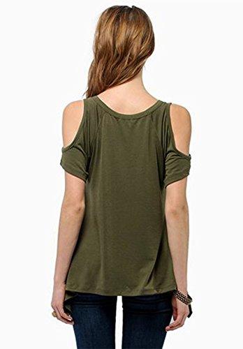 Extensible Femmes Vert Courtes Shirt Manches Casual cou Shirt T Solide Hors paule T v Tops TPqTUR