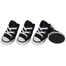 Pet Life Extreme-Skater Casual Grip Fashin Designer Pet Dog Shoes Sneakers Booties Boots, Black Polka Dot, Large