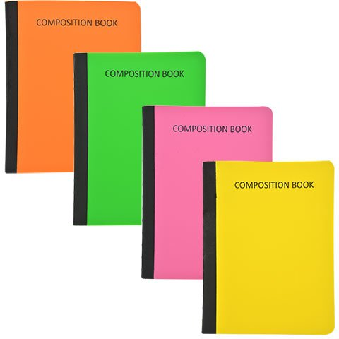 Jot Set of 4 Neon Poly Cover Wide-ruled Composition Notebooks Four Colors Green, Orange, Pink, Yellow (4 CT)