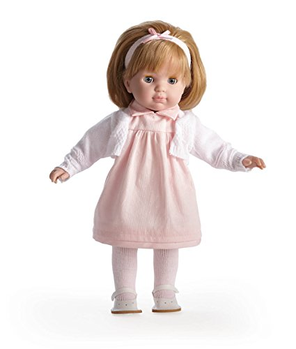 JC Toys Blonde Toddler Doll, 14-Inch Soft Body Doll Dressed in Pretty Pink and White Dress. Open and close eyes.  Designed by BERENGUER for Children 3+. ()