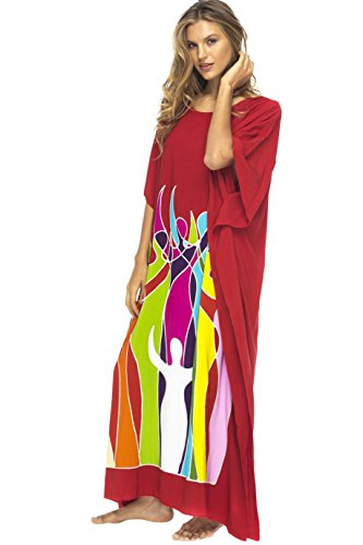 Back From Bali Womens Beach Dress Maxi Caftan Long Poncho Empowerment Red