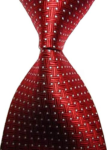 (EXT Collectino 100% Silk Necktie, New Classic Weave Style Red White Dot Fashion Trendy Chick Elegant Formal Business Tie JACQUARD WOVEN Men's Suits Groom Wedding Marriage Party)