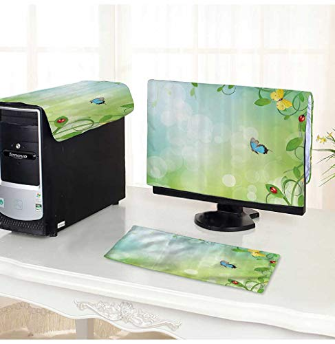 dust Cover for Computer 3 Pieces Spring Theme with Flowers Ladybugs and Butterflies Transformati Morph Suit Computer dust Cover -