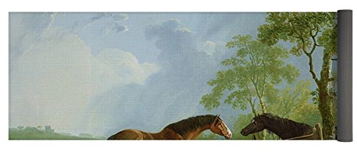 Pixels Yoga Mat W  Bag  Mare And Stallion In A Landscape