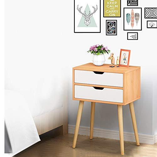 Swyss Side End Table Nightstand with 2 Drawers Storage Mid-Century Accent Wood Furniture, Dormitory Bedroom Assembly Bedside Cabinet