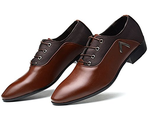 Oxford Mens PU Derby Pointed up Leather missfiona Mesh Shoes Shoes Plain Lace Dress Toe Brown Casual B1FfdanW