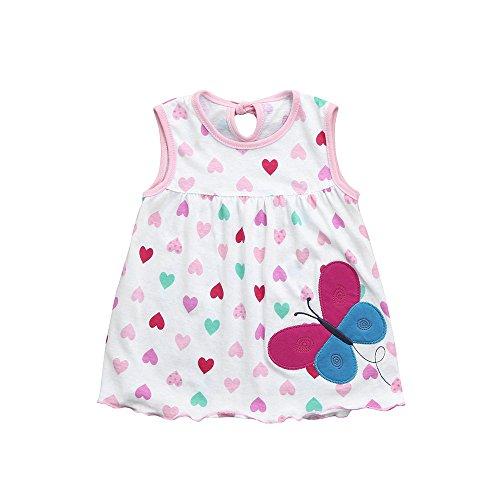 (Kasien Toddler Baby Girls Dress, Toddler Cute Baby Cotton Flower Children Dot Striped Tees Dress T-Shirt Vest (B, 0-24 Months) )