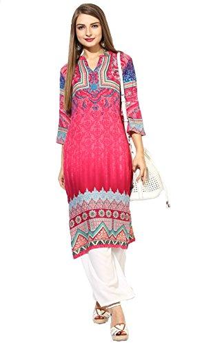 "Lagi Designer Rayon Straight Kurti for Women Printed Tunic Top Mandarin Collar ¾ Th Sleeve Dress"" (M-40)"