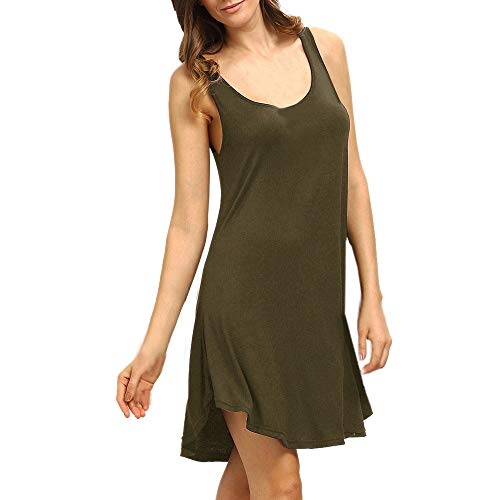 Women Summer Casual Dress Sleeveless Plain Swing Mini Dress O-Neck High Low Tank Top Dress Simple Basic T Shirt Dress ArmyGreen C&c California Long Sleeve V-neck Shirt
