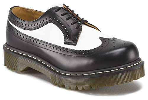 Dr. Martens Men's/Women's 3989 Brogue Oxford,Black/White Smooth,6 UK (US Men's 7 M/Women's 8 M)