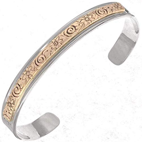 Navajo Silver Gold Cuff Handmade Overlaid Bracelet 2245
