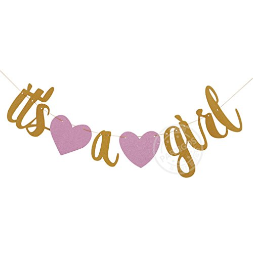 1 Set Retro Its A Boy Its A Girl Banner Newborn Party Decorative String Flags Girl Boy Baby Shower Party Bunting Wall Decoration light pink -