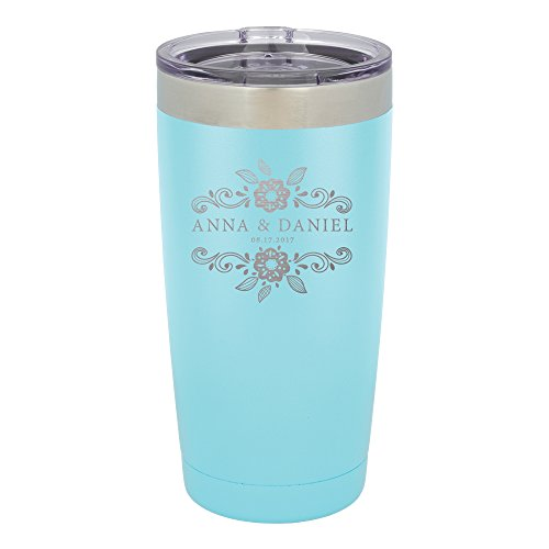 Froolu Travel Coffee Mug - Blue Personalized Laser Engraved Tumbler - Hydro Travel Cup Flask