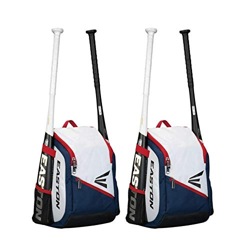 Easton Game Ready Youth Backpack, 2 Pack Bundle (Red/Navy/White)