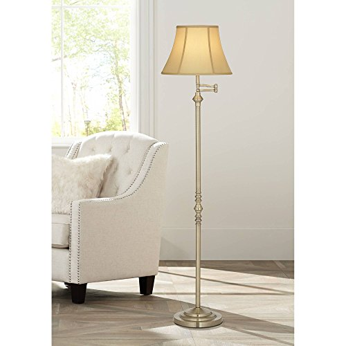Montebello Traditional Floor Lamp Swing Arm Antique Brass Off White Bell Shade for Living Room Reading Bedroom Office - Regency Hill (Adjustable Polished Lamp Metal Nickel Floor)