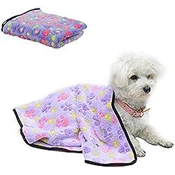 Pet Blanket Cute Pet Puppy Paw Print Bed Mat ,Morbuy Coral Fleece Soft Cat Dog House Blanket Pet Supplies (S, Purple)