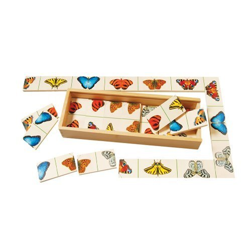 Butterfly Dominoes Game For Kids with 27 Brightly Colored Dominoes and Wooden Storage Case