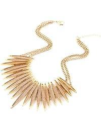 Sparkling Druzy Leaf Choker Necklace Fashion Gold-Tone Collar Necklace Bib Statement Chunky Tribal Necklace Woman Jewelry
