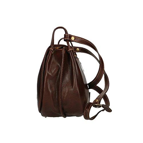 Chicca Borse Hombre de la bolsa de equipaje de todos bolsa con correa para el hombro in echtem Leder Made in Italy 30x24x12 Cm Marron oscuro