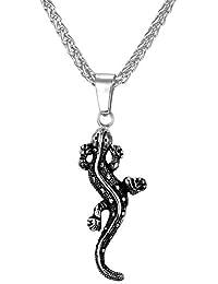 Men's Animal Pendant Cool Stainless Steel Black Alligator Necklace & Chain