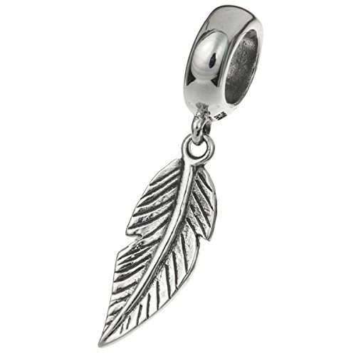 925 Sterling Silver Angel Wing Feather Dangle Bead For European Charm Bracelets