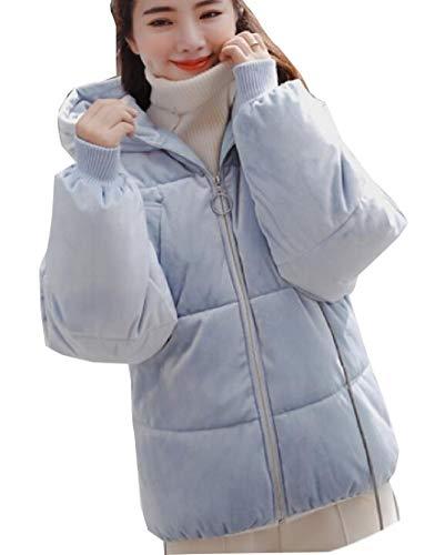 Jacket EKU Padded Blue Puffer Hoodie Womens Coat Style Bread Down FgFEwqf