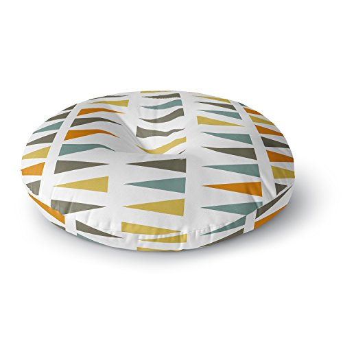 KESS InHouse Pellerina Design Stacked Geo White Triangles Round Floor Pillow, 26