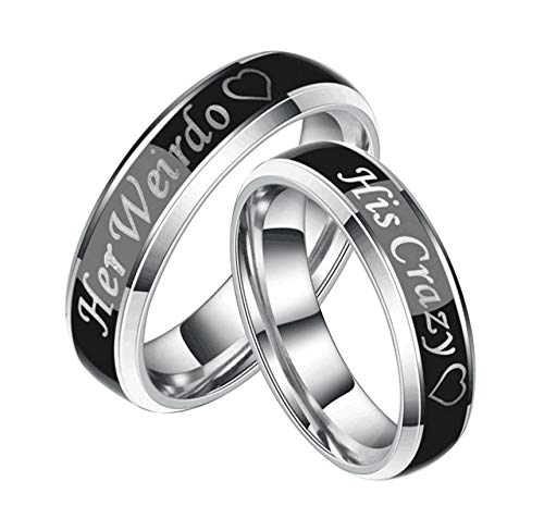 Aooaz Male Wedding Bands His and Hers Rings Wedding Engraved Her Weirdo Heart Promise Ring Size 11 ()