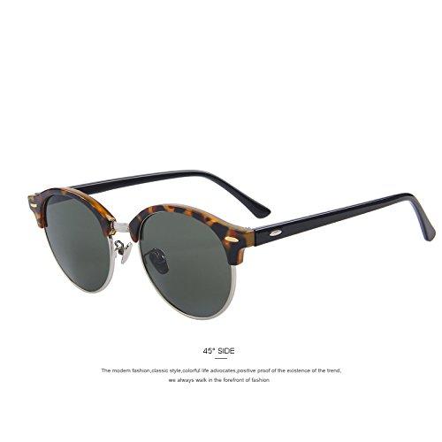 Leopard de marrón polarizadas medio gafas remache Unisex hombres C07 gafas marco TIANLIANG04 clásico Espejo de sol C04 FqpnaEHwS