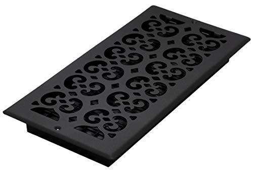 Decor Grates ST614W 6-Inch by 14-Inch Painted Wall Register, Black Textured ()