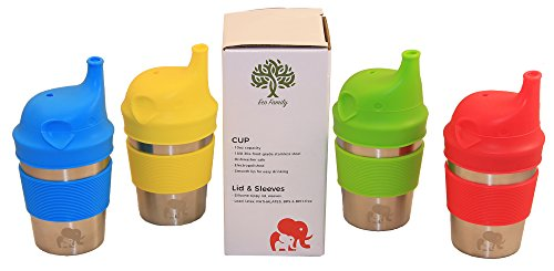 Stainless Steel Baby Sippy Cups - Set Of 4 - Cute & Colorful BPA FREE Silicone Elephant Drinking Lids & Matching Nonslip Sleeves - Eco Glasses For Toddlers / Kids - Cutest Glasses