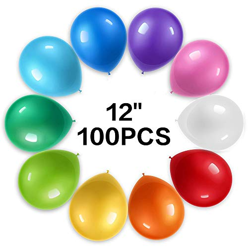 Baobë Balloons Assorted Color 12 Inch 100Pcs Latex Balloon Birthday Party Decoration Supplies