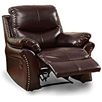 HOMES: Inside + Out ioHOMES Rustic Ronah Recliner, Rustic Dark Brown